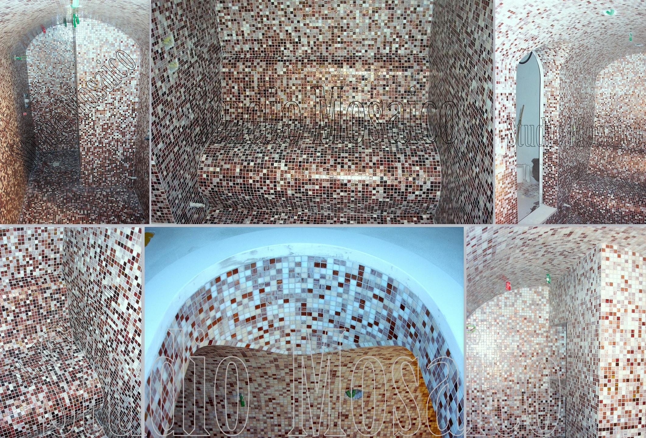 Rivestimento bagno turco con miscela di mosaico vetro a sfumatura - Mosaico vetro bagno ...