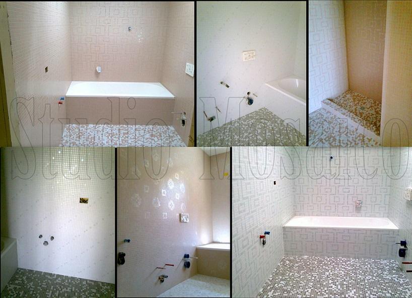 Rivestimento bagni mosaico di vetro mosaico di vetro e marmo - Finto mosaico bagno ...
